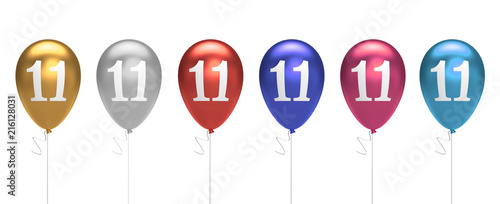 Fotografia  Number 11 birthday balloons collection gold, silver, red, blue, pink