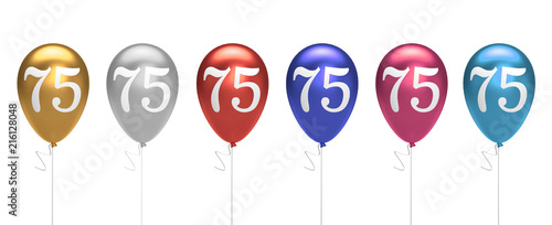 Number 75 Birthday Balloons Collection Gold Silver Red Blue Pink 3D