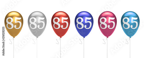 Fotomural Number 85 birthday balloons collection gold, silver, red, blue, pink