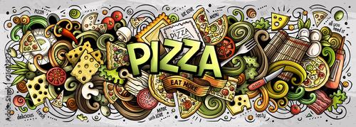 Kreskówka słodkie gryzmoły Pizza słowo