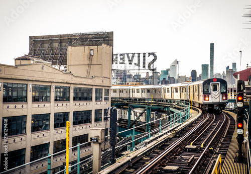 Deurstickers New York City Subway train in New York