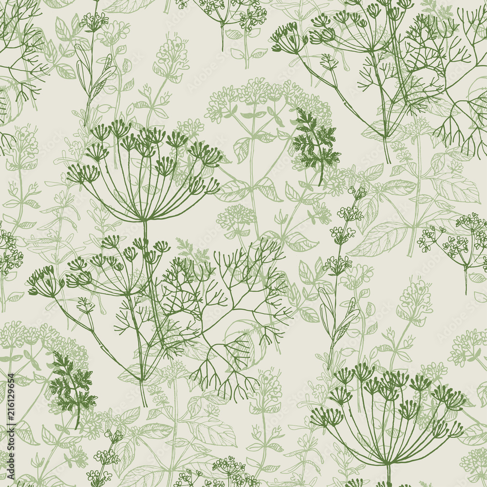 Valokuva Elegant classic herbal seamless pattern