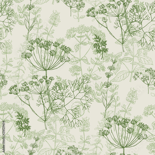 Elegant classic herbal seamless pattern Canvas-taulu