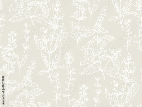Hand drawn herbal sketch seamless pattern for fabric Canvas-taulu