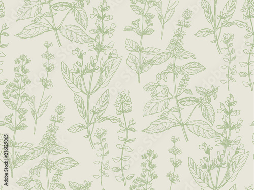 Hand drawn herbal sketch seamless pattern for surface design Canvas-taulu