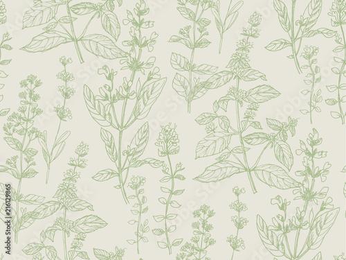 Valokuvatapetti Hand drawn herbal sketch seamless pattern for surface design