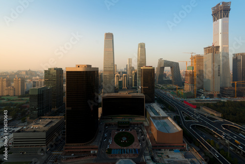 Spoed Foto op Canvas Stad gebouw Beijing cityscape at dusk. Landscape of Beijing business building in China. Modern high building in business district area at morning..