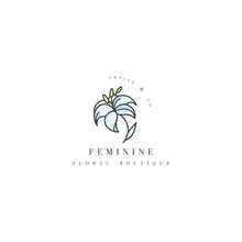 Vector Template Logo Or Emblem - Floral Boutique- Lily Flower. Logo In Trendy Linear Style.