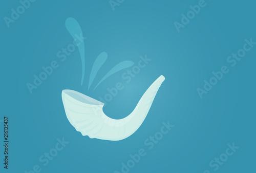 Fotografia Vector illustration for Yom Kippur and Rosh Hashanah: shofar or Yom Kippur Horn