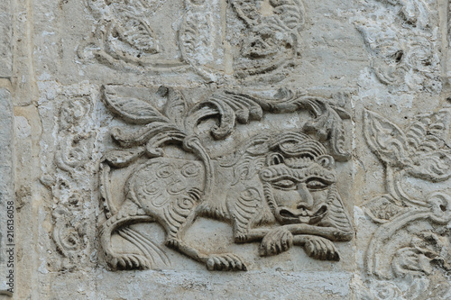 Lion on bas-relief of St George Cathedral in Yuriev-Polsky Wallpaper Mural