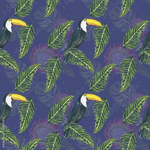 fioletowa-liscie-i-ptak
