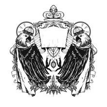 The Emblem Or Coat Of Arms With Eagles Wearing Crowns. Graphic Engraved Illustration. Linocut Style. The Sign Of Royalty.