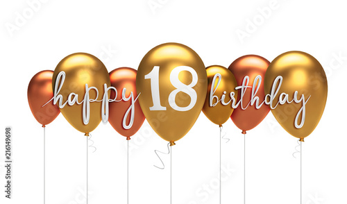 Photographie  Happy 18th birthday gold balloon greeting background