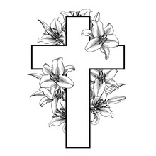 Funeral Cross With White Lilly...