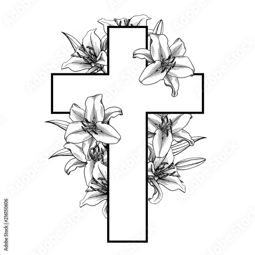 Foto Funeral cross with white lilly flowers. Vector.