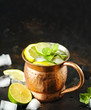Copper mug with lemonade and mint