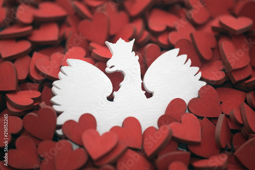 Polish coat of arms on red hearts