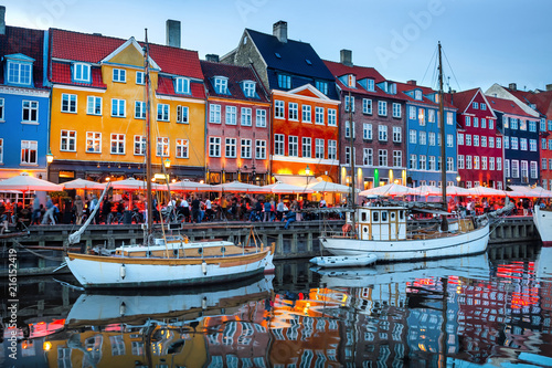 Photo  Nyhavn illuminated at night, Copenhagen