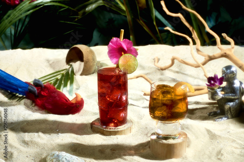 Poster Historisch mon. Cocktails in tropical still life