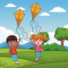 Boy And Girl Flying A Kite At ...