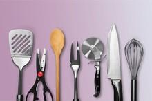 Set Of Modern Steel Kitchen Utensils