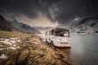Abandoned camper van in fjord, Hamny i Lofoten, Nordland, Norway