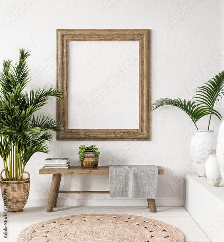 Foto auf Gartenposter Boho-Stil Old wooden frame mock-up in interior background,Scandi-boho style, 3d render
