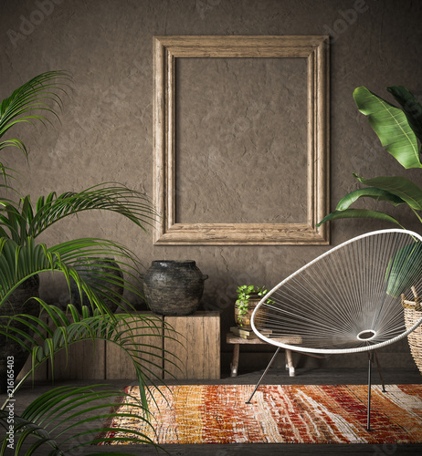 In de dag Boho Stijl Old wooden frame mock-up in ethnic interior, 3d render