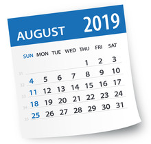 August 2019 Calendar Leaf - Vector Illustration