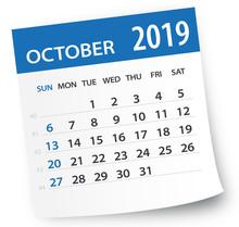 October 2019 Calendar Leaf - Vector Illustration