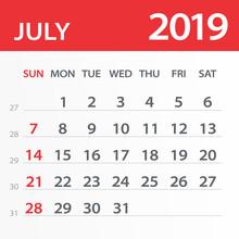 July 2019 Calendar Leaf - Vect...