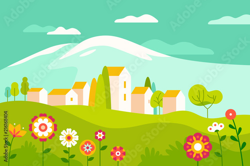 Poster Groene koraal Vector illustration in simple minimal geometric flat style - village landscape with buildings, hills, flowers and trees