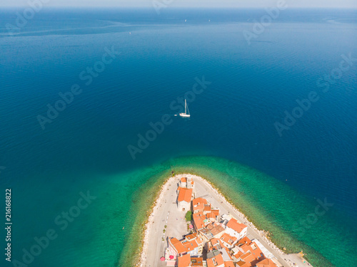 Fotobehang Europa Aerial view of old town Piran. Splendid summer day on Adriatic Sea. Beautiful cityscape of Slovenia, Europe. Traveling concept background. Magnificent Mediterranean landscape.