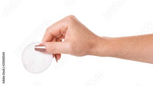 Fotografía  wadded disk in a female hand
