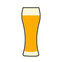 Glass Of Beer Icon. Symbol Template Logo. Isolated Vector Illustration On White Background.