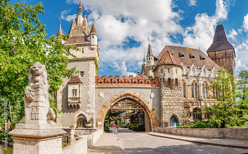 Photo  Vajdahunyad Castle entrance gates, vacation and tourism destinations in Budapest