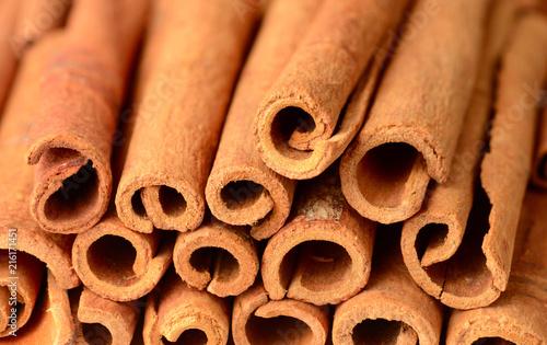 Fototapeta food background of cassia cinnamon sticks obraz