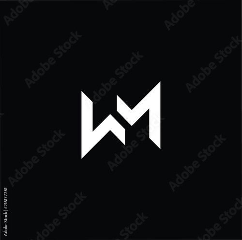 Photo  Outstanding professional elegant trendy awesome artistic black and white color MW WM initial based Alphabet icon logo