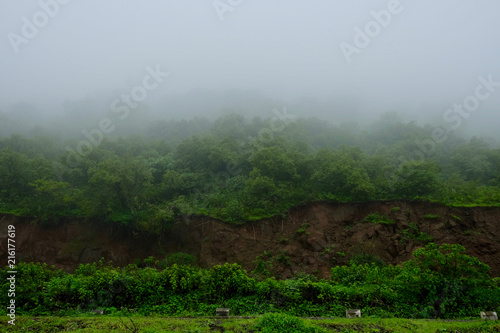 Lush green monsoon nature landscape mountains, hills, Purandar, Maharashtra, India
