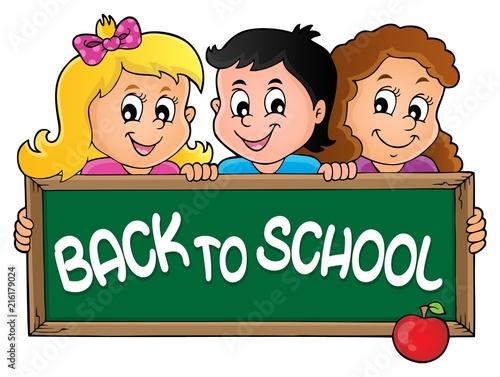 Foto op Plexiglas Voor kinderen Children holding schoolboard theme 2