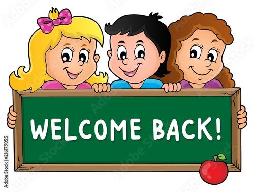 Deurstickers Voor kinderen Children holding schoolboard theme 3