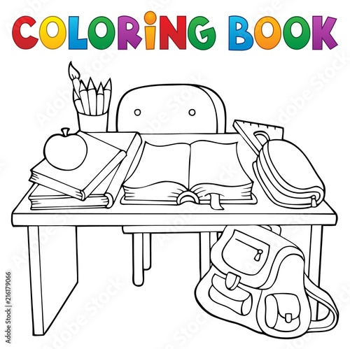 Foto op Plexiglas Voor kinderen Coloring book school desk theme 1