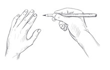 Hand With A Pencil Drawing Sketch