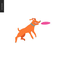 Dog In The Park - Flat Vector Concept Illustration Of An Orange Brownish Dog With Blue Collar, Jumping In The Air Trying To Catch A Pink Frisbee