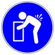 Leinwanddruck Bild - shas540 SignHealthAndSafety shas - German / Gebotszeichen: Rücken beim Heben nicht beugen - Beuge deine Knie beim anheben - english / mandatory action sign: take care lifting - xxl g6398