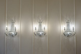White glass chandelier, shines the banquet hall