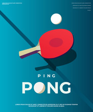 Pingpong Poster Template. Table And Rackets For Ping-pong. Vector Illustration EPS10