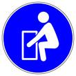 Leinwandbild Motiv shas541 SignHealthAndSafety shas - German / Gebotszeichen: Beim Heben von schweren Lasten eine aufrechte Körperhaltung einnehmen - english / mandatory action sign: take care lifting - xxl g6399