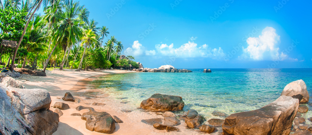 Beautiful tropical beach at exotic island with palm trees - obrazy, fototapety, plakaty
