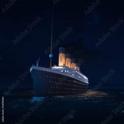 Fotografie, Obraz RMS Titanic Last Night on the Atlantic Illustration